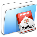Folder, Aqua, marlboro, smooth Black icon