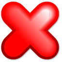cancel, no, stop Red icon