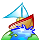 globe, Browser, earth, Boat, world, planet Black icon
