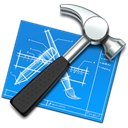 tool, utility, xcode, hammer, Blue print DodgerBlue icon