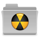 Folder, Burn, badged Silver icon