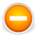 Minus, subtract, Orange LightGray icon