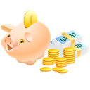 Cash, Currency, pig, piggy bank, Money, Safe, coin Black icon