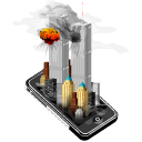 teorist, New york, mobile phone, twin towers, Iphone, smartphone, Apple, Cell phone, Attack Black icon