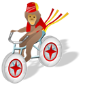 monkey, Bicycle Black icon