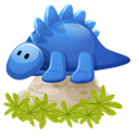 dino, Cartoon, Blue Black icon