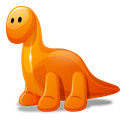 Orange, Cartoon, dino Black icon