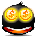 Currency, Cash, Emotion, Emoticon, Avatar, coin, Face, Money Black icon