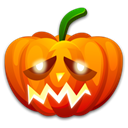 sad, halloween, pumpkin Black icon