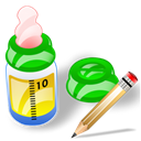 write, feeding, Bottle, writing, Edit Black icon
