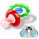 Pacifier, Find, search, seek Black icon