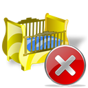 Close, cradle, no, cancel, stop Black icon