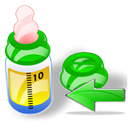 prev, previous, feeding, Bottle, Backward, Arrow, Left, Back Black icon