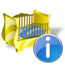 cradle, Info, about, Information Black icon