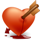 love, valentine, Arrow, Heart Black icon