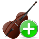 contrabass, plus, Add, instrument Black icon