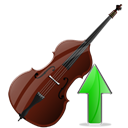 rise, instrument, Ascending, increase, contrabass, Up, upload, Ascend, contrabass up Black icon