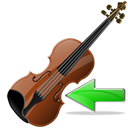 Arrow, previous, Violin, Backward, prev, Left, Back, instrument Black icon