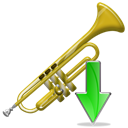 Down, instrument, Descend, fall, download, Decrease, descending, Trumpet Black icon