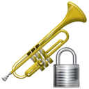 locked, instrument, security, Trumpet, Lock Black icon
