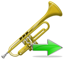 next, ok, Trumpet, Forward, correct, yes, right, instrument, Arrow Black icon