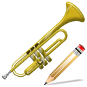 Edit, Trumpet, instrument, writing, write Black icon