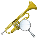 Trumpet, zoom, instrument Black icon
