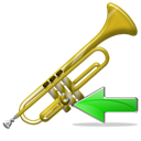 instrument, Backward, Left, prev, Back, previous, Arrow, Trumpet Black icon