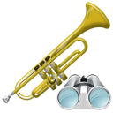 Trumpet, instrument, Find, search, seek Black icon