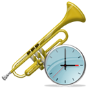 history, time, instrument, alarm clock, Trumpet, Clock, Alarm Black icon