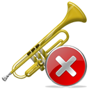 cancel, Close, stop, instrument, no, Trumpet Black icon