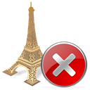 Close, stop, no, cancel, torreeiffel Black icon
