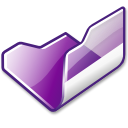 Folder, violet, open Black icon