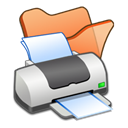 Orange, printer, Print, Folder Black icon