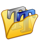 Font, Folder, yellow Black icon