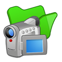 Folder, green, video Black icon