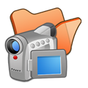 Folder, Orange, video Black icon