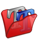 Font, Folder, red Black icon