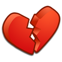 love, valentine, Broken, Heart Black icon