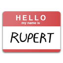 rupert, name, my name is eda, hello IndianRed icon