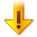 Down, fall, download, Error, wrong, descending, Recommended, exclamation, Decrease, Arrow, Alert, warning, update, Descend, Orange Black icon