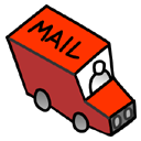 Automobile, red, vehicle, mail, truck, Message, Letter, Little, transport, envelop, Email, transportation Black icon