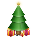 Tree, christmas, plant, gift, present Black icon