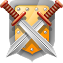 Guard, sword, And, protect, security, shield DarkGray icon