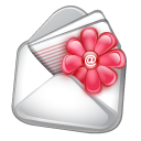 Flower, Contact, Email, envelope Black icon