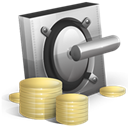 coin, Money, Safe, vault, Currency, Cash Black icon