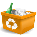 Full, new, Orange, trash can DarkGoldenrod icon
