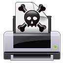 printer, skull, gtk, poison, Crossbones, Alert, exclamation, warning, Error, wrong, Print Black icon
