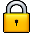 Lock, locked, security Gold icon