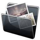 pic, Folder, Dock, picture, Hp, photo, image Black icon